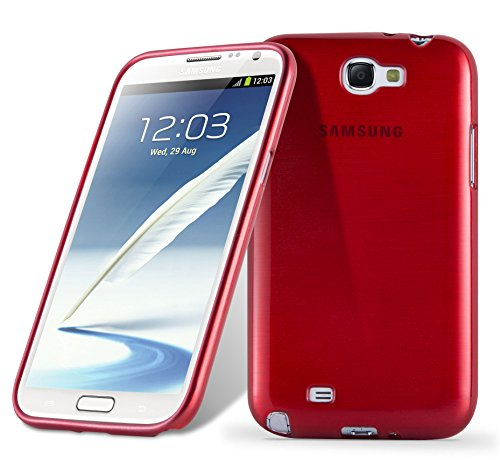Cadorabo Case Works with Samsung Galaxy Note 2 in RED - Shockproof and Scratch Resistant TPU Silicone Cover - Ultra Slim Protective Gel Shell Bumper Back Skin