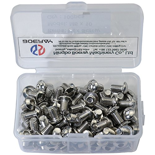 Boeray 100 pcs M5 x 10 mm 304 Stainless Steel Internal Hex Drive Button Head Cap Screws, Packed in a Plastic Case (Plastic Head Thumb Screws With Socket Drive)