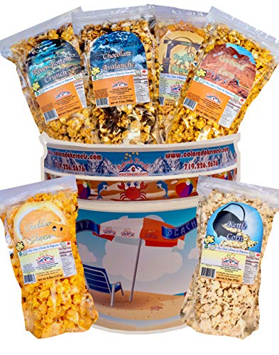 COLORADO KERNELS Decorative 3.5 Gallon HAPPY BEACHING Popcorn Bucket Containing Six Handcrafted Popcorn Flavors in Resealable Bags. Chocolates, Nuts, Caramels, Cheesy, Spicy, Sweet. ()