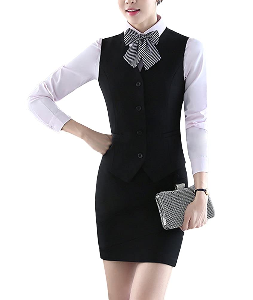 SK Studio Women's 3 Piece Business Slim Vest Skirt Dress Shirt Suits SK-O-0001