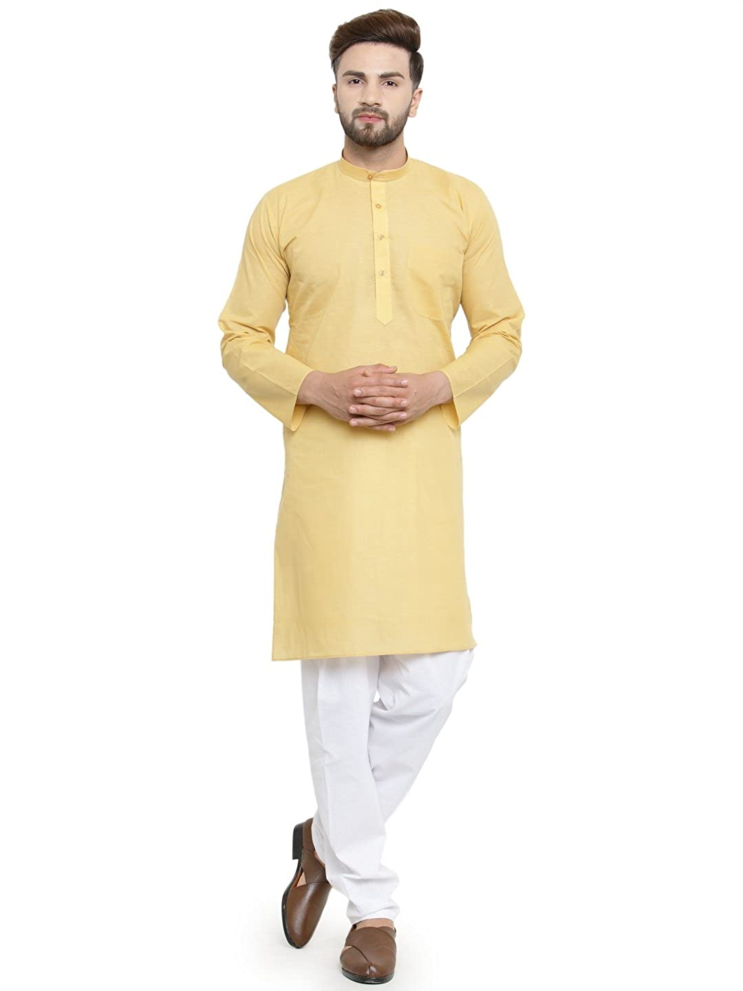 50ebf1c7951 Yellow Festive Cotton Kurta Pajama Set  Amazon.in  Clothing   Accessories