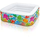 Kids-Blow-Up-Pool. This Small Portable Kiddie Above Ground Swimming Pool Is Great For Children, Toddlers To Have Outdoor Water Fun With Floats, Toys. Square Clearview Aquarium Inflatable Pool.