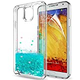 samsung 3 protective screen - Galaxy Note 3 Case, Note 3 Glitter Case with HD Screen Protector for Girls Women,LeYi Shiny Cute Design Moving Quicksand Liquid Clear TPU Protective Phone Case for Samsung Galaxy Note 3 ZX Turquoise