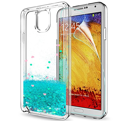Galaxy Note 3 Case, Note 3 Glitter Case with HD Screen Protector for Girls Women,LeYi Shiny Cute Design Moving Quicksand Liquid Clear TPU Protective Phone Case for Samsung Galaxy Note 3 ZX Turquoise