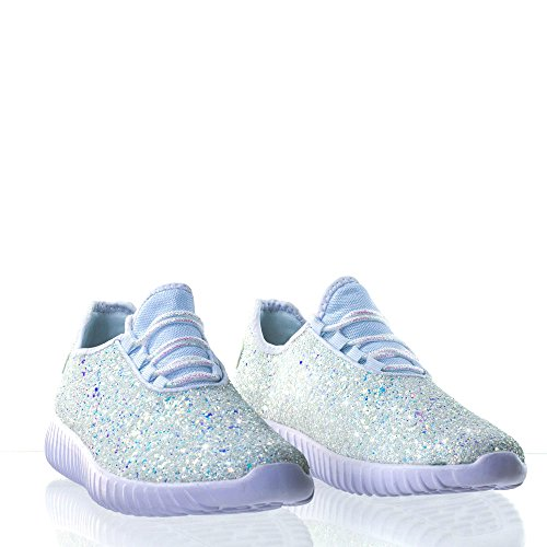 Link Lace up Rock Glitter Fashion Sneaker for Children/Girl/Kids, White, 4 Big Kid