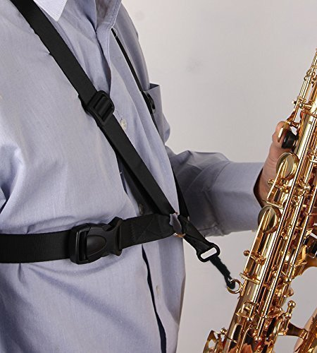 Aibay® Saxophone Strap,black New Adjustable Alto/tenor/baritone Sax Saxophone Harness Shoulder Strap 10783334