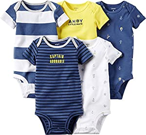 Carters Baby Boy 5 Pack Short Sleeve Bodysuits (Multiple Styles and Sizes)