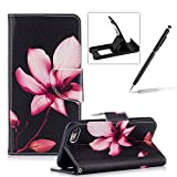 Leather Case for iPhone 7,Flip Wallet Cover for iPhone 8,Herzzer Stylish Pink Lotus Pattern Magnetic Closure Purse Folio Smart Stand Cover with Card Cash Slot Soft TPU Inner Case for iPhone 7/iPhone 8 4.7 inch + 1 x Free Black Cellphone Kickstand + 1 x Free Black Stylus Pen