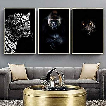 sanzangtang Elefante Cebra león Jirafa Negro Blanco Animal Lona-Pintura sin marco80X120cmx3