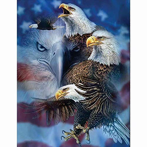 Flowerbeads 5D DIY Diamond Painting Full Round Drill Eagle American Flag Rhinestone Embroidery for Wall Decoration (Eagle Flag Embroidery)