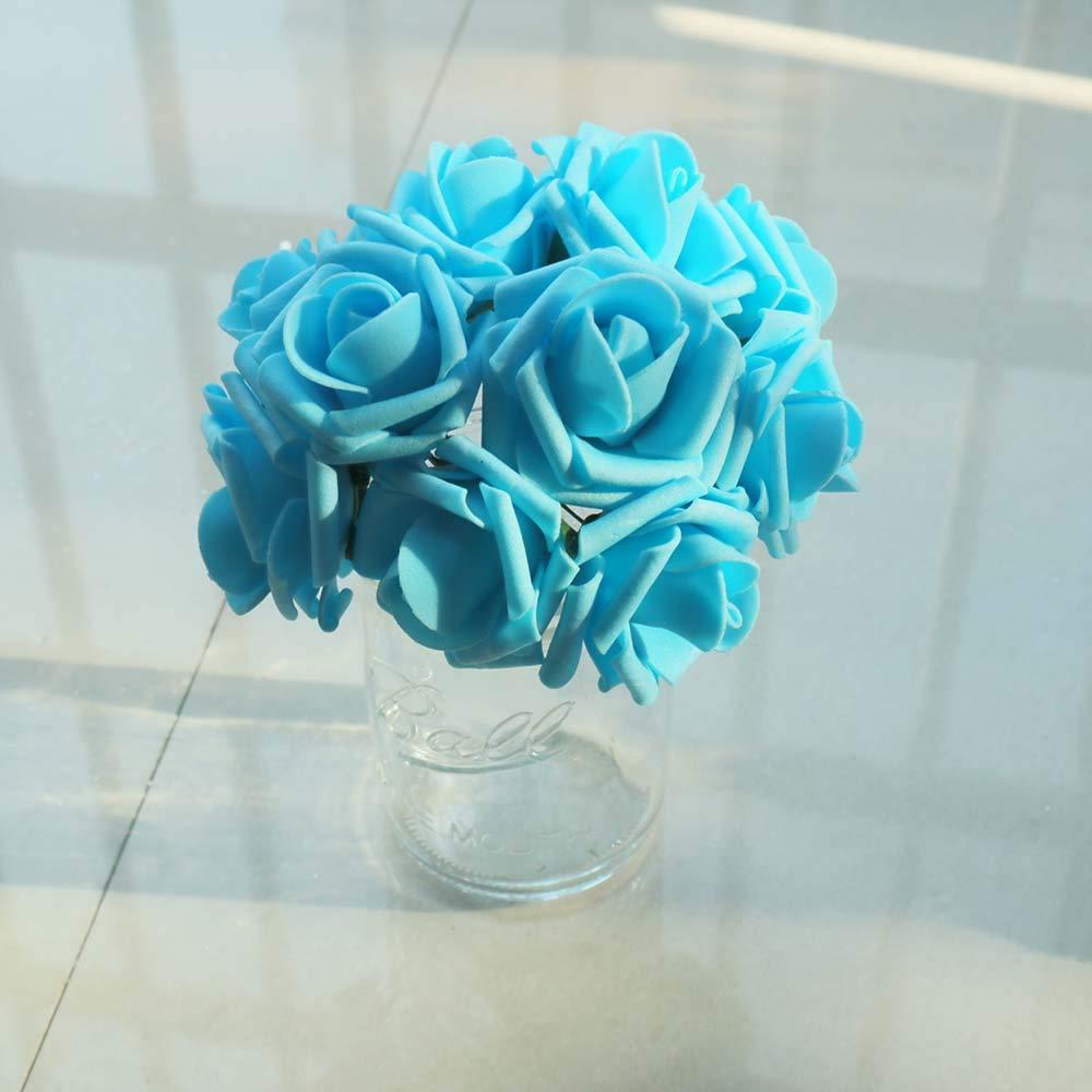 Black YONGSNOW Mini PE Foam Rose 50pcs Real Touch Artificial Rose Flowers for Wedding Bride Bouquet Home Party Decoration
