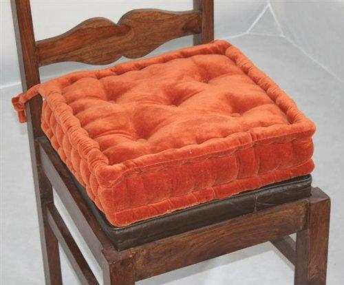 Homescapes extrahohes Sitzkissen orthopädisch mit Bändern Sitzerhöhung Aufstehhilfe ca. 40 x 40 x 10 cm, Bezug aus Baumwolle 100% Polyester Füllung, uni terracotta