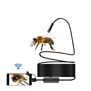 Wireless Endoscope,WiFi Inspection Camera, 2.0 Megapixels HD Snake Camera, Micro USB Borescope with Adjustable lamp Holder Waterproof Endoscope Laptops USB OTG Compatible Android Smartphones (16.4ft)