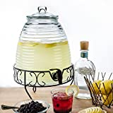 Beehive Glass Beverage Dispenser With Stand – 2.4 Gallon Drink Dispenser
