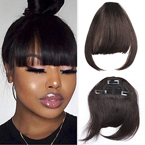 Clip in Bangs Fringe Real Human Hair One Piece 1B Natural Black 100% Real Brazilian Hair Extensions For Black Women