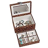 4Queens Handmade Girls travle Jewelry Box Pu Leather with Makeup Mirror Watch Display Organizer Storage Case Lockable Water Resistant Lining