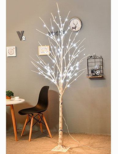 ERSION] LED Birch Tree 6ft 96L LED Christmas Decorations Lighted Tree Decor for Bedroom/Party/Wedding/Office/Home Outdoor and Indoor Use White (6' Led Tree)