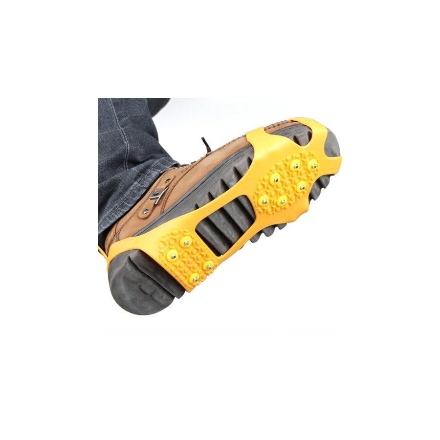 GQMART Pair Ice Snow Shoe Spikes Grips Crampons Cleats Hiking Fishing Climbing Orange M