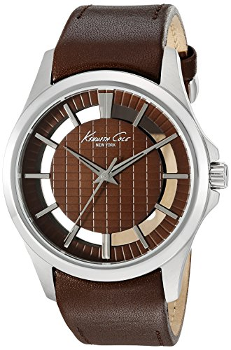 Kenneth Cole New York Men's 'Transparency' Quartz Stainless Steel and Brown Leather Dress Watch (Model: 10022289)