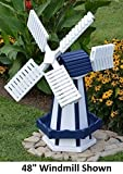 Amish-Made Working Dutch Windmill Yard Decoration 74'' Tall, White with Navy Trim