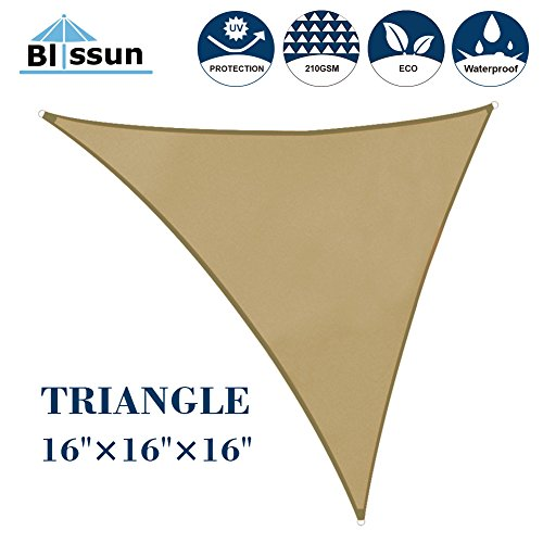 Blissun 16' x 16' x 16' Sun Shade Sail Triangle