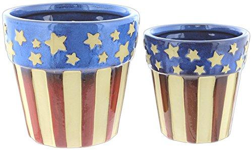 Set of 2 Mayrich Rustic American Flag Planter Pots 4.5