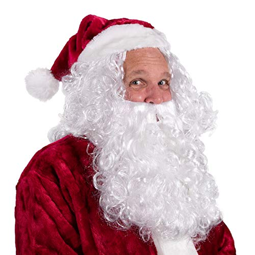 Boo Inc. Santa Beard & Wig | Christmas & Halloween Wizard Costume -