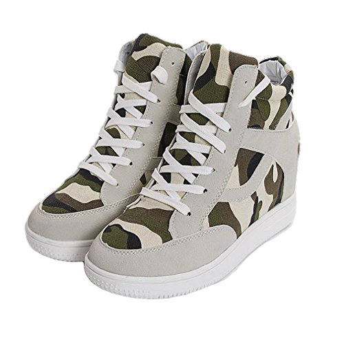 (Women's Girl's High Top Camouflage Casual Canvas Sneakers Wedge Hidden Heel Shoes (7.5,)
