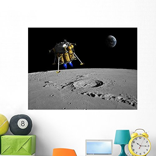 Lunar Lander Moon - Lunar Lander Begins Its Wall Mural by Wallmonkeys Peel and Stick Outer Space Graphic (48 in W x 36 in H) WM226480