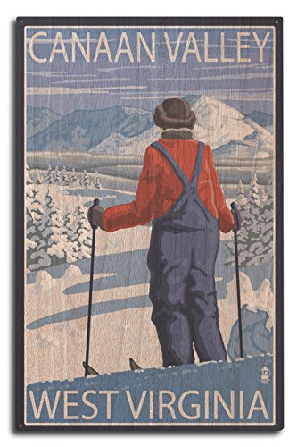 Canaan Valley, West Virginia - Skier Admiring View (10x15 Wood Wall Sign, Wall Decor Ready to - View Virginia Valley
