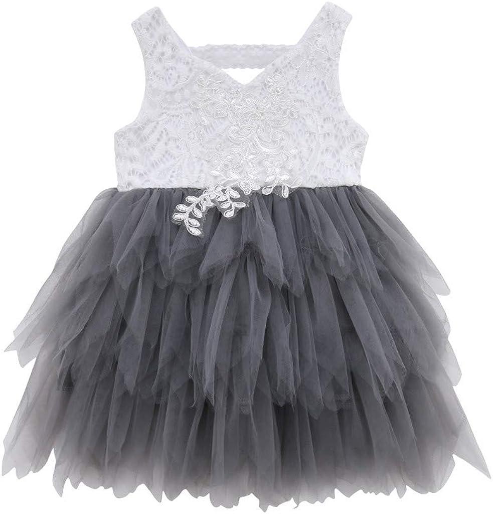 LEXUPE Kleinkind Kind Baby M/ädchen /ärmellose Spitze T/üll Patchwork Prinzessin Kleid Kleidung