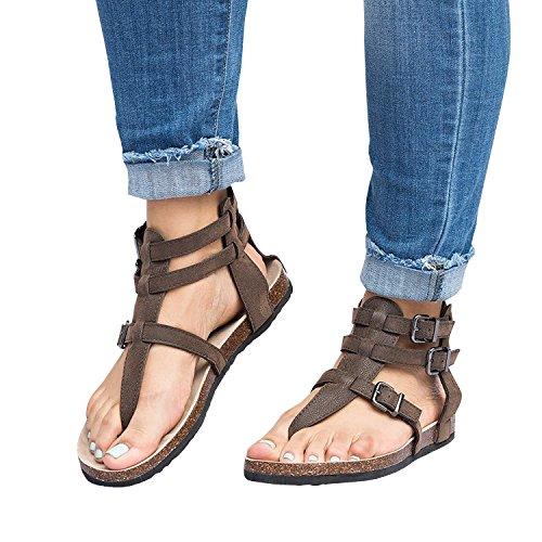 Sheleau Womens Gladiator Sandals Flip Flop Straps Summer T-Strap Thong Roman Flat Shoes Brown