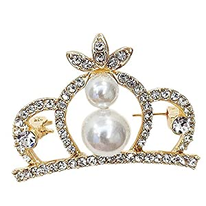 Bledyi Ladies Fashion Crown Brooch Metal Pin Girl Diamond Brooch Suitable for Shopping/Dating