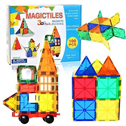 パズル 早期教育クリエイティブ磁気吸着パズル玩具無料組み合わせの多様な変化磁気シート組み合わせビルディングブロック100ピース磁気吸着ビルディングブロックおもちゃ スーツ   B07TSY1V5D