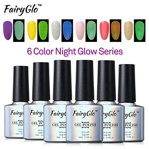FairyGlo 6 PCS Glow in the Dark Nail Polish UV LED Soak Off Gel Manicure Dramatic Varnish Nail Art Gift Set For Carnival Party Night 10ml (Glow In The Dark Makeup Kit)