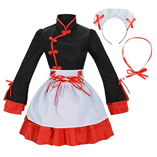 Sheface Women's Cosplay Lolita Fancy Dress French Maid Costume (Large, Black) ()