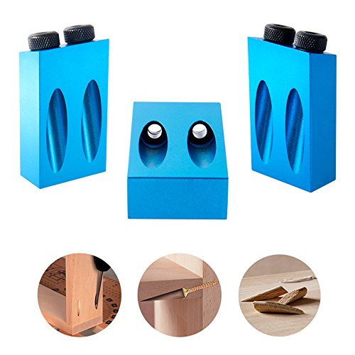 KKmoon Dual Pocket Hole Jig Kit 6/8/10mm 15°Bit Angle Drive Adapter for Woodworking Angle Drilling Holes Guide Wood Tools Doweling Hole Saw & DIY Joinery Work Tool Set by KKmoon (Image #6)