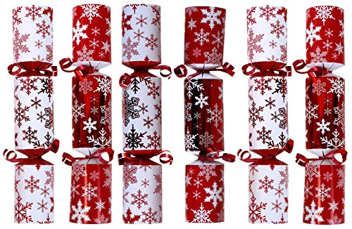 Iconikal 9-inch Christmas No-Snap Party Favor, Red Snowflakes, 6-Pack (Christmas Snaps Cracker)