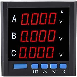 DC/AC Voltmeter, Three-phase Voltmeter Ammeter 4-digit red LEDs Digital Display Current Meter Voltmeter Voltage Meter Widely used in Substation Automation