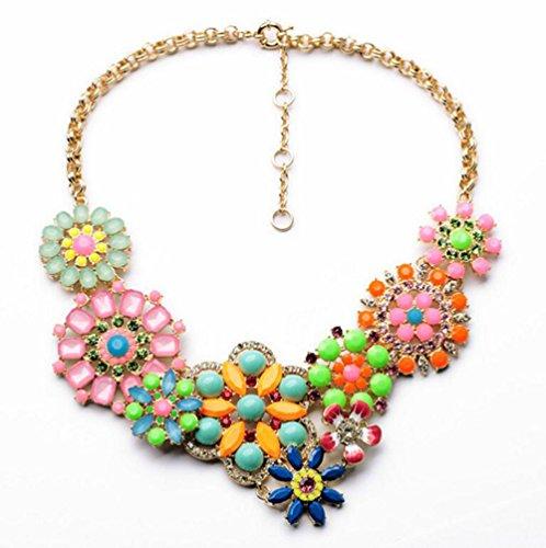 Gudeke Mode Simple Diamonds Femmes Bohême Collier Pendentif en alliage Fleur avec 57cm Chain