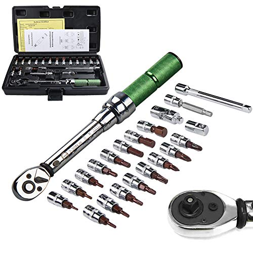 AKM 1/4-inch Drive Dual-Direction Click Torque Wrench Set High Precision Wrench with Buckle (20-180in.-lb / 2-20Nm)