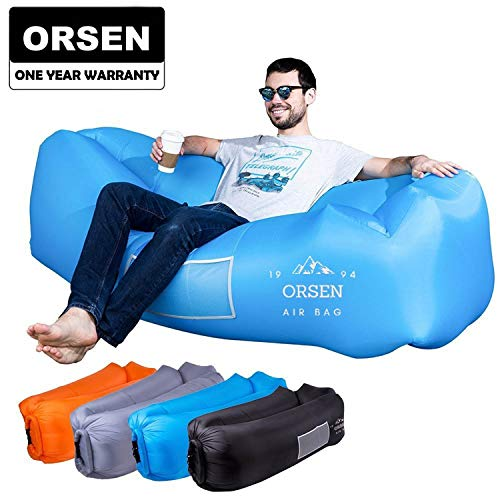 ORSEN Inflatable Lounger Portable Hammock Air Sofa and Camping Chair with Water Proof& Anti-Air Leaking Design, Ideal Inflatable Couch and Beach Chair Camping Accessories for Parties Picnic&Festival