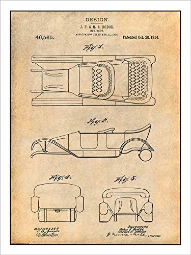 Studio 21 Graphix 1914 Dodge Brothers Car Body Design Patent Print Art Poster UNFRAMED Parchment 18