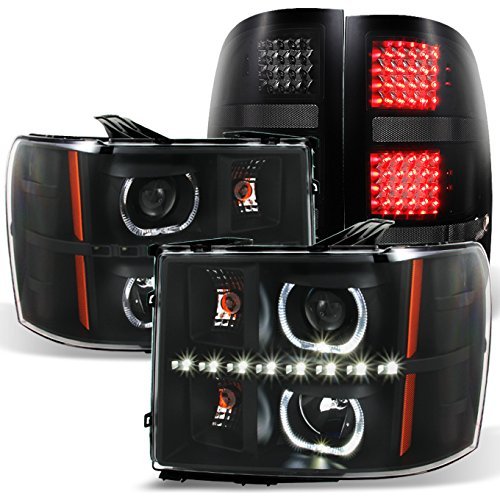 2007-2013GAZE GMC Sierra Black Halo Projector Head Lights Pair + Black Smoked LED Tail Lights Set - Gmc Sierra Halo Projector