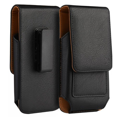 (Leather Case Pouch Vertical Credit Card Holder Swivel Clip Black Compatible LG X Charge)