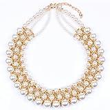 Qiyun Multi-Row Torsade Pearl Strand Beaded Bib Choker Necklace Multi-Rangs De Perles De Torsade Collier