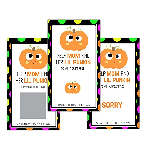 Set of 12 Scratch Off Game Cards for Baby Shower Games with Halloween Oh Baby in Neon Colors (Halloween Raffle Time)