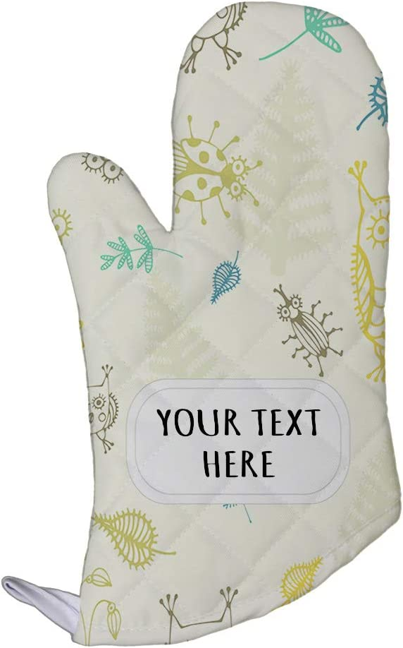 Polyester Oven Mitt Custom Owls with Flower Insect Seemless Pattern Adults Kitchen Mittens
