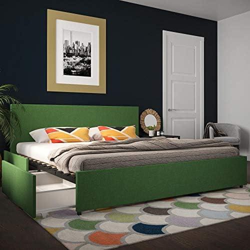 Novogratz Kelly Upholstered Storage Platform Bed - King Green Linen