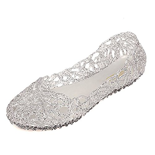 Sequin Ballet Flat - Sketo Women's Bird Nest Layered Lines Jelly Ballet Flats US Size 9 Silver